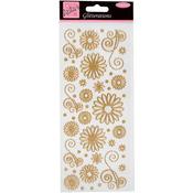 Anita's Glitterations Flowers Stickers -Gold