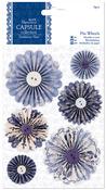 Papermania Parisienne Blue Pinwheels 6/Pkg-