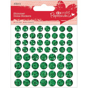 Green - Papermania Shimmer Dome Bling Stickers 60/Pkg