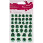 Green - Papermania Shimmer Dome Bling Stickers 36/Pkg