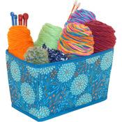"""Everything Mary Teal Floral Folding Yarn Bin 11""""X6.75""""X6.5"""""""