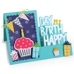 Sizzix Framelits Dies By Stephanie Barnard 20/Pkg -Step - Ups Happy Birthday