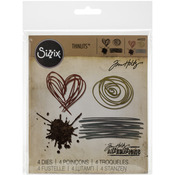 Sizzix Thinlits Dies 4/Pkg By Tim Holtz - Scribbles & Splat
