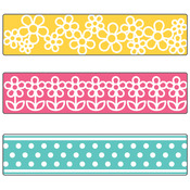 Sizzix Textured Impressions A2 Embossing Folder W/3 Borders - Flowers & Dots By