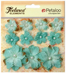 Teal Textured Elements Burlap Mini Flowers - Petaloo