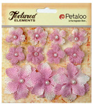 Lavender Textured Elements Burlap Mini Flowers - Petaloo