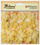Yellow Textured Elements Burlap Mini Flowers - Petaloo