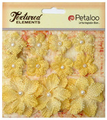Yellow Textured Elements Burlap Mini Flowers - Petaloo