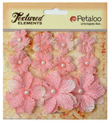 Pink Textured Elements Burlap Mini Flowers - Petaloo