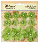 Pistachio Textured Elements Burlap Mini Flowers - Petaloo