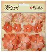 Apricot Textured Elements Burlap Mini Flowers - Petaloo