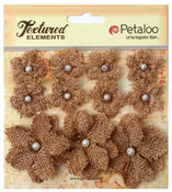 Natural Textured Elements Burlap Mini Flowers - Petaloo