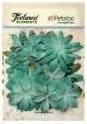 Teal Burlap Canvas Daisy Layers Textured Elements - Petaloo