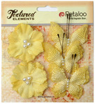Yellow Butterflies & Blossoms Textured Elements - Petaloo