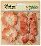 Apricot Butterflies & Blossoms Textured Elements - Petaloo