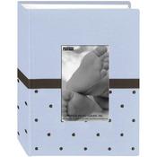 "Blue/Brown - Baby Dot Fabric Frame 4""X6"" Photo Album 100 Pockets"