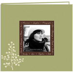 "Leaves - Designer Printed Raised Frame Post Bound Album 8""X8"""