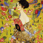 "Lady With A Fan/G. Klimt's Painting Counted Cross Stitch Kit-13.75""X13.75"" 14 Co"