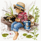 """11.75""""X11.75"""" 14 Count - Let's Go Fishing Counted Cross Stitch Kit"""