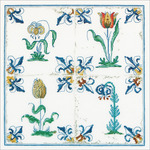 "Antique Tiles, Flowers On Aida Counted Cross Stitch Kit-11""X11"" 18 Count"