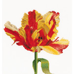 """13.5""""X14.25"""" 18 Count - Red/Yellow Parrot Tulip On Aida Counted Cross Stitch Kit"""