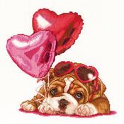 Valentine's Puppy On Aida Counted Cross Stitch Kit