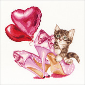 """Valentine's Kitten On Aida Counted Cross Stitch Kit-12.25""""X11.75"""" 16 Count"""
