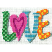 """7""""X5"""" Stitched In Yarn - Love Needlepoint Kit"""