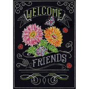"""10""""X14"""" 14 Count - Welcome Chalkboard Counted Cross Stitch Kit"""