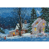 """7""""X5"""" 18 Count - Gold Petite Quiet Night Counted Cross Stitch Kit"""
