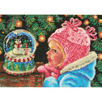 "7""X5"" 18 Count - Gold Petite Christmas Wishes Counted Cross Stitch Kit"