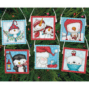 16 Count Set Of 6 - Frosty Friends Ornaments Counted Cross Stitch Kit