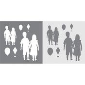 "Andy Skinner Mixed Media Stencil & Mask Set 6""X6""-Children"