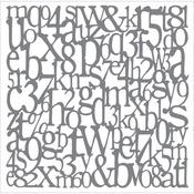 "Andy Skinner Mixed Media Stencil 8""X8""-Alphabet Spaghetti"