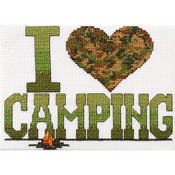 "I Love Camping Mini Counted Cross Stitch Kit-6.5""X4.75"" 14 Count"