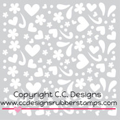 "Girl Doodles - C.C. Designs Stencils 6""X6"""