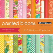 "Painted Blooms - Penny Black Paper Pad 6""X6"" 48/Pkg"