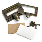 Salvaged Antique Library Plate Pull Kit-