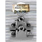 Salvaged Antique Black Clips 2/Pkg-