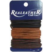 Ebony, Cedar & Mahogany - Round Leather Lace 2mm Carded 8yd