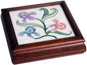"Design Area 7-1/2""X7-1/2"" - Mahogany Carol's Fancywork Box 9.5""X9.5""X2.75"""