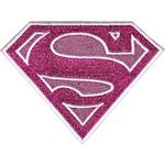 "Pink Sparkle Supergirl Logo 3.75""X3"" - DC Comics Patch"