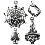 Silver Web, Teeth, Skull And Witch - Tis The Season Metal Charms