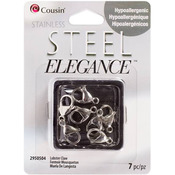 Stainless Steel Elegance Beads & Findings - Lobster Claw Clasp 7/Pkg