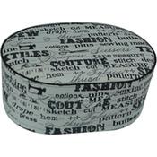 Black On Cream Print - Sewing Basket Oval