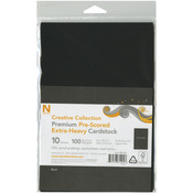 "Black - Pre-Scored Heavyweight 100lb Cover Cardstock 5.5""X8.5"" 10/Pk"