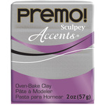 White Gold Glitter - Premo Accents Sculpey Polymer Clay 2oz