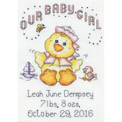 "5""X7"" 14 Count - Our Baby Girl Chick Birth Record Mini Counted Cross Stitch K"