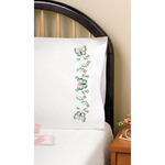 """Aqua Butterfly - Stamped Pillowcase Pair For Embroidery 20""""X30"""""""
