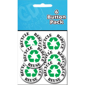 "Button Party Pack 1.25"" 6/Pkg - Recycle Reduce Reuse"